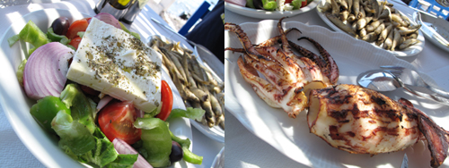 Greek Salad and Grilled Octopus
