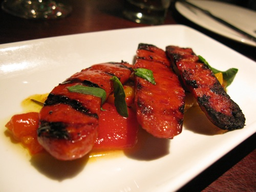 Tres. Char-grilled Chorizo with Marinated Peppers (£5.75): Nothing ...