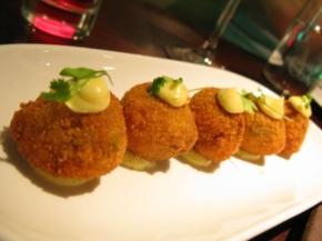 Crispy Saffron Arancini with Crab Squid Mussels and Chilli Aioli