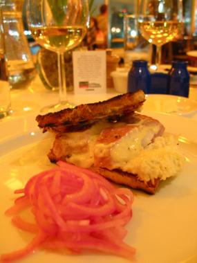 Warm smoked eel sandwich
