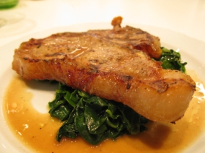 Veal Chop with Spinach and Lemon