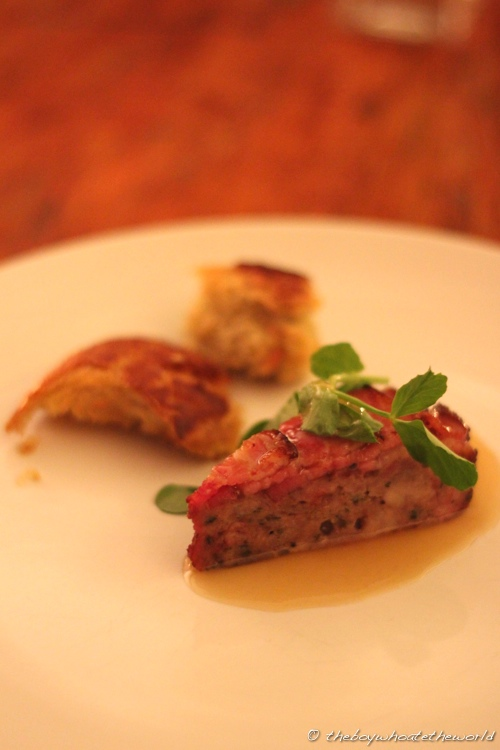Country Terrine with smoke apple gel and rosemary bread