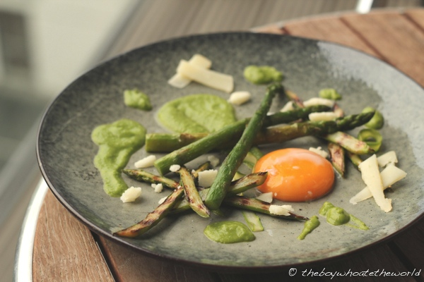 65 Degree Egg with British Asparagus and Pea Puree 1