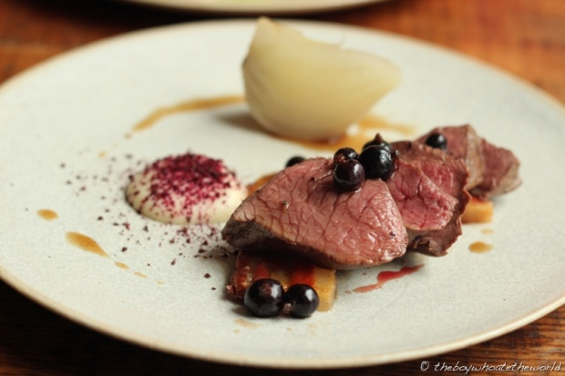 Baked Venison in Blackcurrant leaves with White Beetroot and Bacon