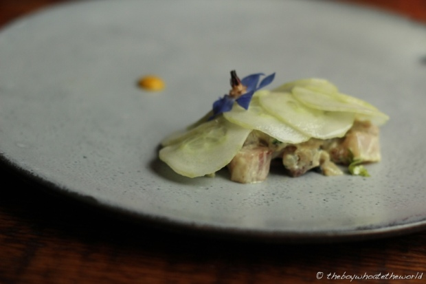 Flame grilled Mackerel Tartare with Mustard and Gooseberries