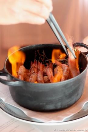Prawns in 'Orujo' flame(@Akelare – San Sebastian)