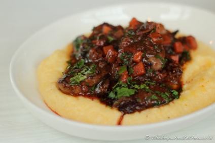 Duck Hearts, Braised Carrots & Polenta