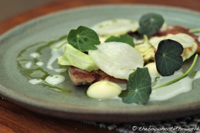 Milk-fed Goat, Baby Turnip, Parsley & Nasturtium - L'Enclume, Lake District
