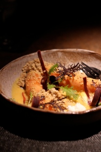 Smoked Carrots, Goat's Curd & Rye - Oblix, London