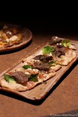 Truffle Flatbread, Ricotta, Pancetta & Maple Onions