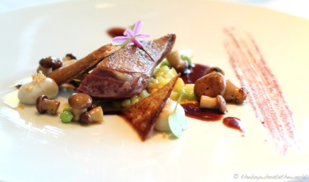 Roast Pigeon, Jus, Olives, Truffled tubers & Pickled Cucumber