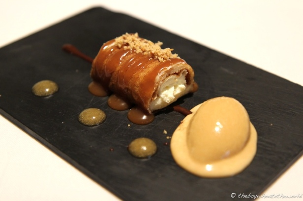 Afuega'l Pitu pastry, Apple compote & toffee ice cream