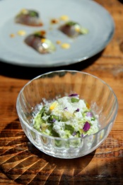 Chilled Pea Mousse, Iced Goat's Milk & Sherry Cream - The Clove Club, London