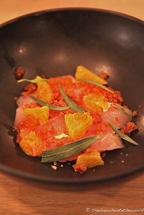 Raw Red Mullet, Orange, Creme Fraiche