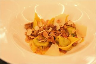 Courgette-stuffed Ravioli, Veal & Toasted almonds
