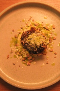 Algae baked Celeriac, frozen butter, sunflower seed & celery oil
