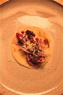 Reindeer Tacos, lingonberries, horseradish & spruce