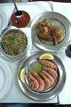 Lunch spread at Bonjarim - Frango Assado, Arroz Brasiliera, Gambas