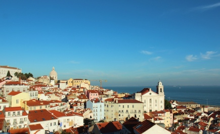 Views over Lisbon's Alfama district from Miradouro Santa Luiza