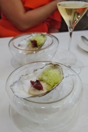 63C Porthilly Oyster, granny smith granita & pickled pulse