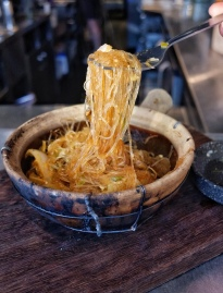 Claypot Baked Glass Noodles with Pork Belly & Brown Crab